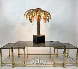 Superbe Lampe Des Années 70 Style Jansen En Forme De Palmier En Métal Doré