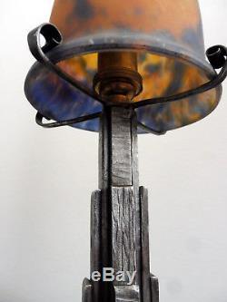 Superbe Lampe Muller Frères Fres Lunéville Pied Art Deco Fer Forgé Pte De Verre