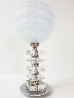 Superbe Lampe Verre & Chrome Art Deco 1920 1930 Vintage 20s 30s