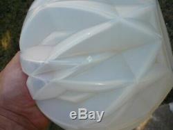 Superbe Vase Prismes Art Deco Moderniste Verre Opalescent Andre Hunebelle