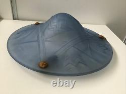 Superbe Vasque Plafonnier Art Déco Signé Degué verre Bleu Géométrique Lustre