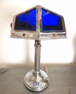 Superbe ancienne lampe PIROUETT Chromé Verre bleu ART DECO 1930