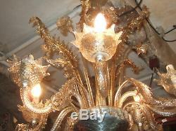 Superbe et grand Lustre Murano en Verre, Cristal, Ornementé de très belle qualité
