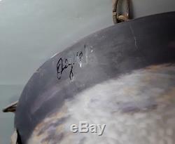 Superbe lustre vasque en pâte de verre art déco signée DEGUÉ, Avec monture