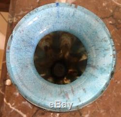 Superbe vase ART-DECO Verre marmoréen et fer signé LORRAIN (DAUM) Majorelle