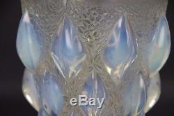 TULIPE LALIQUE VERRE OPALESCENT SOUFFLÉ MOULÉ POUR LAMPE SUSPENSION H 13 cm