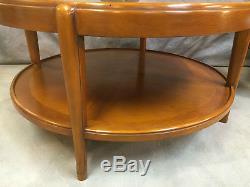 Table basse ronde en noyer dessus verre de style art déco 90 cm de diametre