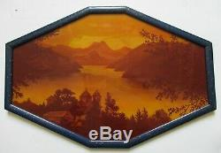 Tableau PLAQUE DE VERRE Paysage gravé acide peinture fixée sous verre Art Déco