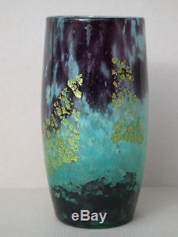 VASE DAUM NANCY Verre multicouches inclusions feuilles OR Turquoise Art déco