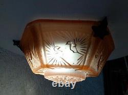 VASQUE ROSE MULLER FRERES LUNEVILLE paon 4,2 kg tulipe suspension lampe lustre