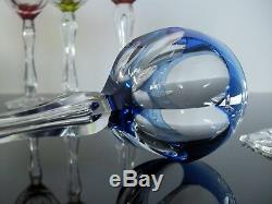 Val St Lambert Art Déco 6 Verres À Vin Cristal Couleur Avec Ballon De D'air