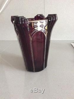 Vase Art Deco Granité, Dégagé A L'acide & Émaillé