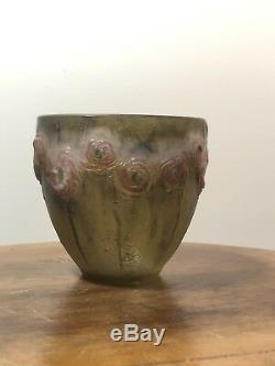 Vase Petites Roses Gabriel Argy-Rousseau Art Deco Glass Pate De Verre