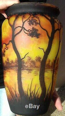 Vase art deco, Gallé, Legras, Richard, Verre Multicouche Dégagé A L Acide