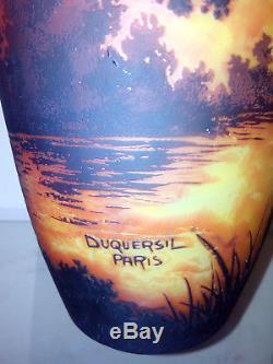 Vase pate de verre art deco signé DUQUERSIL Paris gravé acide Gallé Muller Daum