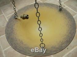 Vasque Coupe D' Eclairage Suspension Pate De Verre Art Deco Nouveau Schneider