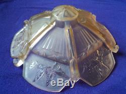 Vasque Muller Papillons Art Deco Pate De Verre Suspension Lustre Avec Monture