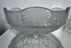 Vasque pour lustre lampe verre pressé-moulé MULLER FRÈRES Art Déco 1925
