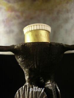 Vasseur & Daum Lampe Art Déco Cataloguée En Fer Forgé & Obus En Verre Nuagé