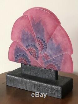 Veilleuse Night Lamp Gabriel Argy-Rousseau Glass Pate De Verre Eventail Fleurs