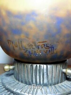 Veilleuse brûle-parfum socle fer pâte de verre MULLER FRÈRES LUNÉVILLE No ROBJ