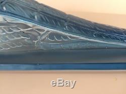 Verlys France, grand faisan Art Deco en verre moulé bleu, dlg Sabino Etling